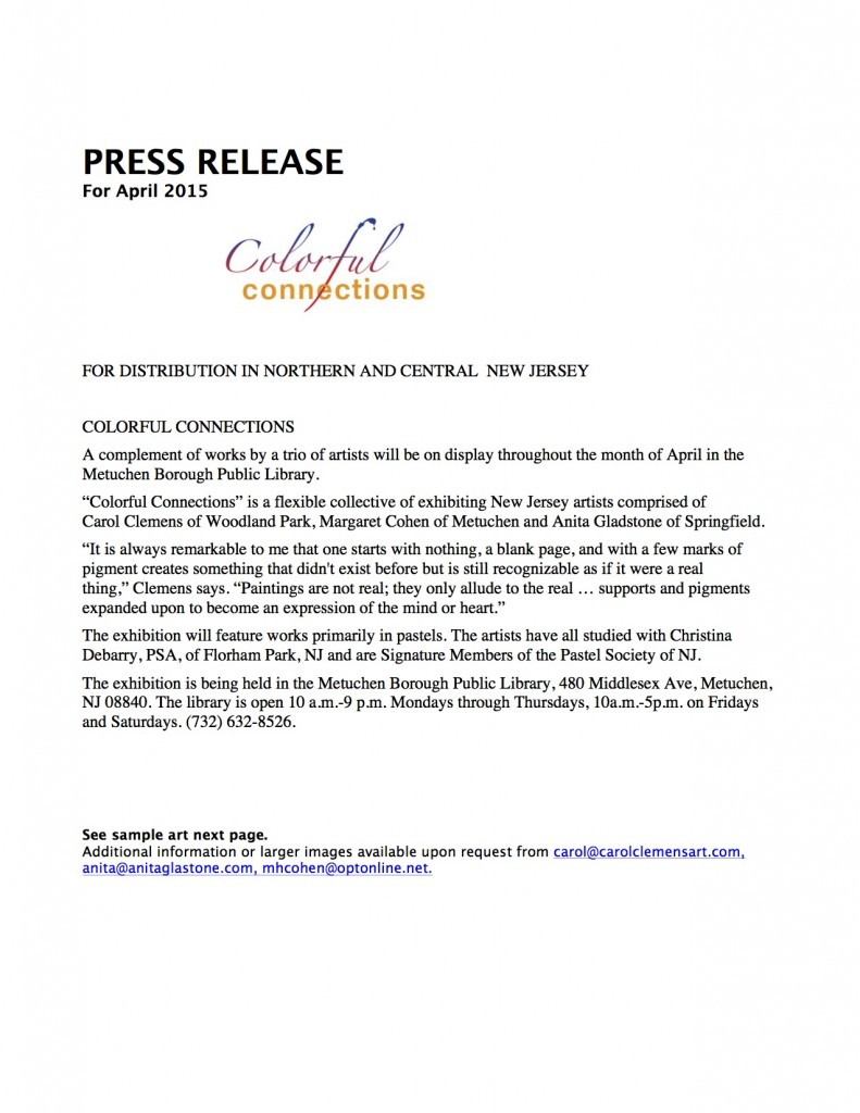 COLORFUL CONNECTIONS Metuchen 0415, press release