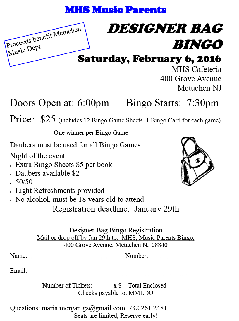 designer bag bingo registration